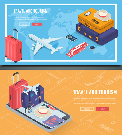 Travel banners in Isometric style. Travel and tourism. Concept website template. Vector illustration Çizim