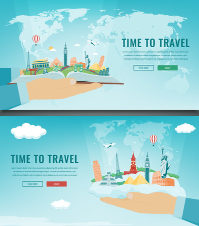 Travel composition with famous world landmarks. Travel and Tourism. Concept website template. Vector
