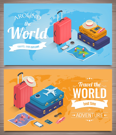 Travel banners in Isometric style. Travel and tourism concept. Vector illustration 版權商用圖片 - 124753619