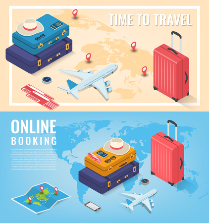 Travel banners in Isometric style. Travel and tourism concept. Vector illustration