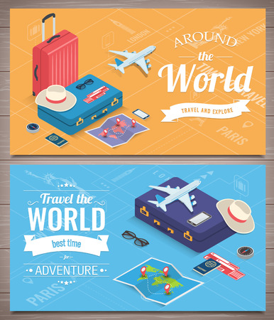 Travel banners in Isometric style. Travel and tourism concept. Vector illustration 版權商用圖片 - 124753621