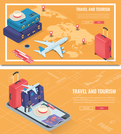 Travel banners in Isometric style. Travel and tourism. Concept website template. Vector illustration 版權商用圖片 - 124753622