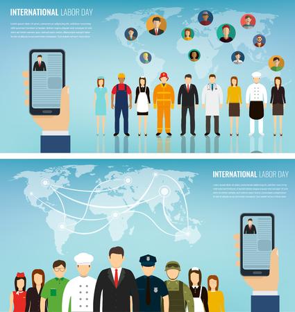 Dos pancartas con personas de diferentes ocupaciones. Conjunto de iconos de profesiones. Diseño plano. Ilustración vectorial