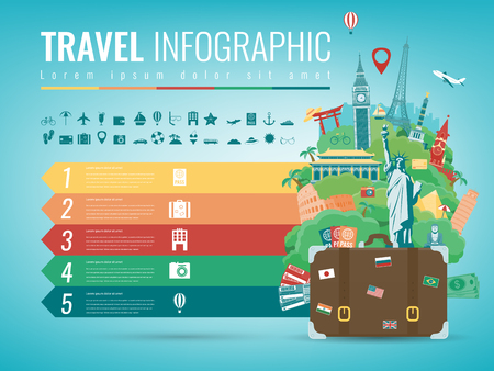 Travel infographic with world landmarks. Infographics for business, web sites, presentations, advertising. Travel and Tourism concept. Vector