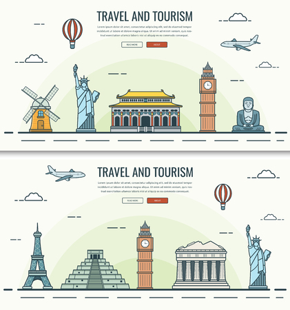 Travel composition with world landmarks and travel equipment. Travel and Tourism. Concept website template. Vector Ilustracja