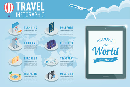 Travel infographic in isometric style. Infographics for business, web sites, presentations, advertising. Travel and Tourism concept. Vector illustration