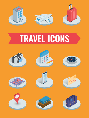 Travel icons in Isometric style. Travel and tourism concept. Vector