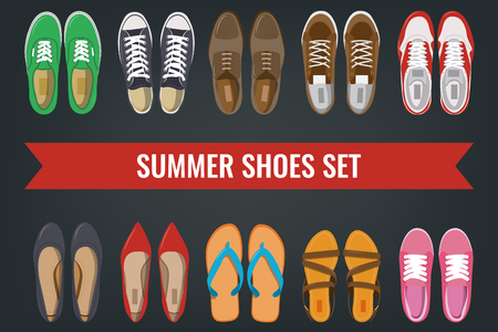 Mens and Womens shoes top view. Shoes icons. Sneakers and Slippers collection. Vector