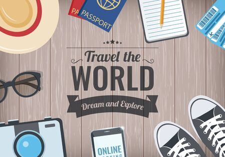 Travel the World background with items for travel. Travel and Tourism concept. Vector
