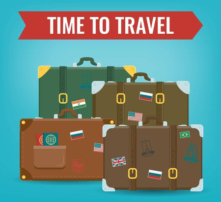 Travel luggage set. Travel and Tourism concept. Flat design. Vector