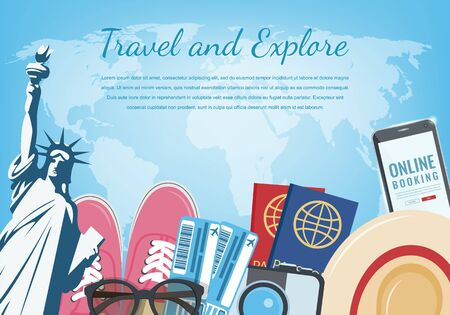 Travel composition with travel equipment. Travel and Tourism concept. Vector