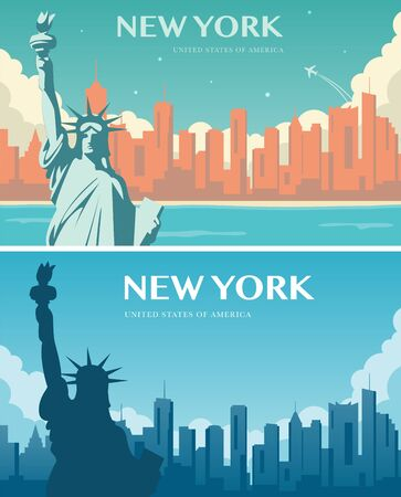 Statue of Liberty banner set. World landmark. American symbol. New York city. Vector