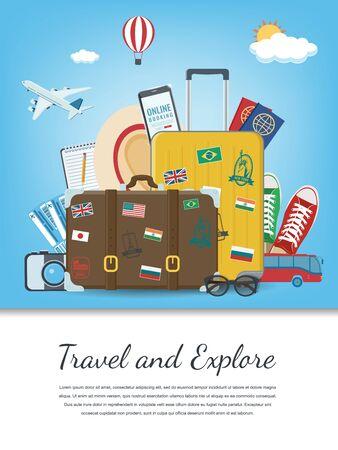 Composizione da viaggio con attrezzatura da viaggio. Concetto di viaggio e turismo. Vettore Vettoriali