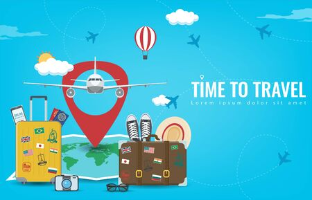 Travel background with luggage, airplane, world map and other equipment. Travel and Tourism concept. Vector