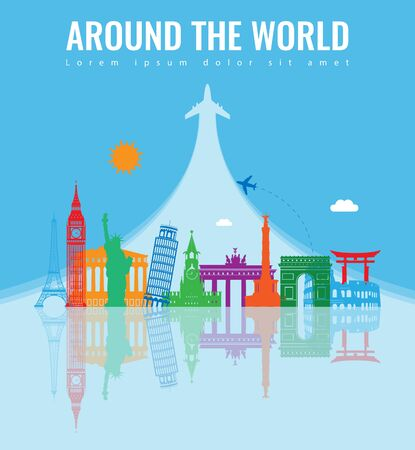 Travel composition with famous world landmarks. Travel and Tourism concept. Vector