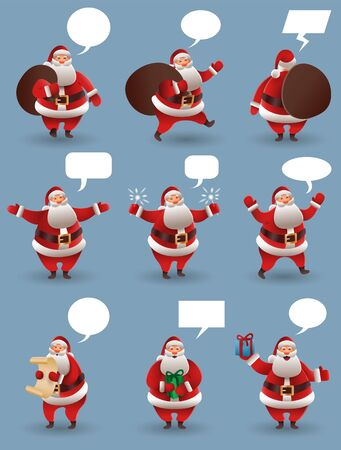 Santa Claus christmas character set. Santa with different gestures and gifts. For Christmas cards, banners, tags and labels. Vector illustration