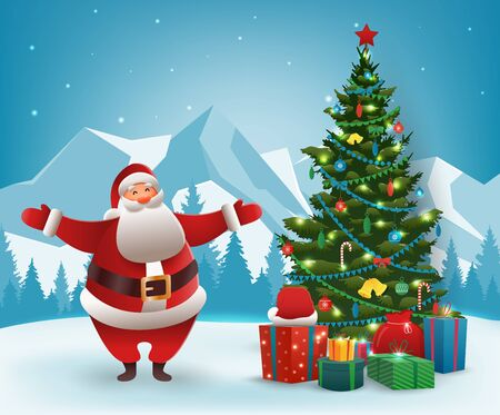 Santa Claus with Christmas tree. Merry Christmas and Happy New Year. Vector illustration