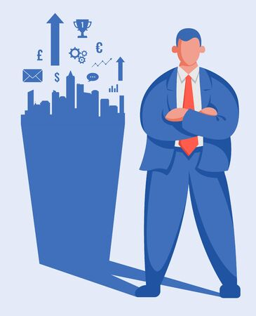 Businessman success and achievement. Business growth up concept. Vector illustration