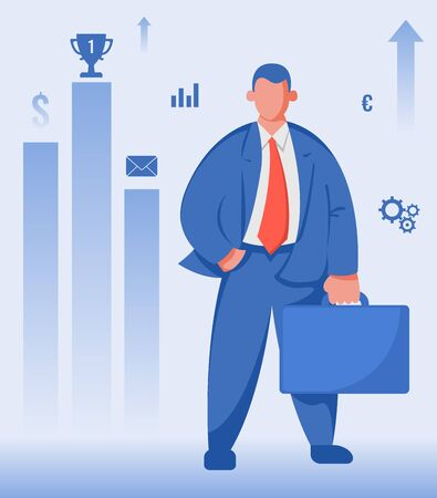Business and Finance concept. Businessman success and achievement. Vector illustration