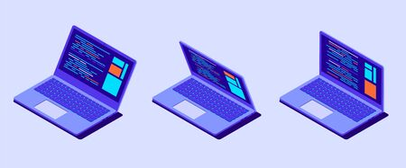 Isometric laptop with program code on screen. Laptop isolated. Vector