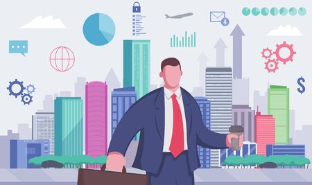 Business person in the modern city. Economy and Finance. Evereday job. Vector