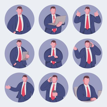 Business man flat icons set. Vector illustration Illustration
