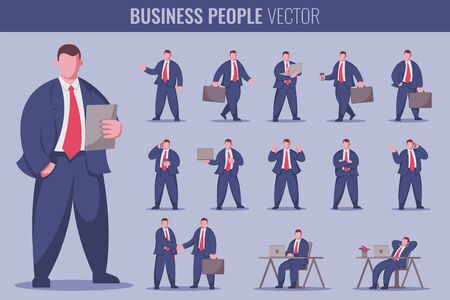 Business man at work. Business people set. Vector