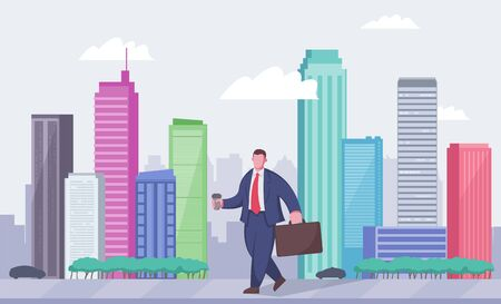 Business person in the modern city. Economy and Finance. Evereday job. Vector illustration Illustration