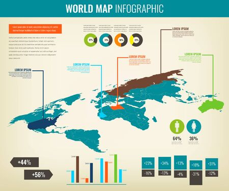 World map infographic template. 3d isometric. Vector