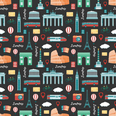 Travel composition with famous world landmarks. Seamless pattern. Vector