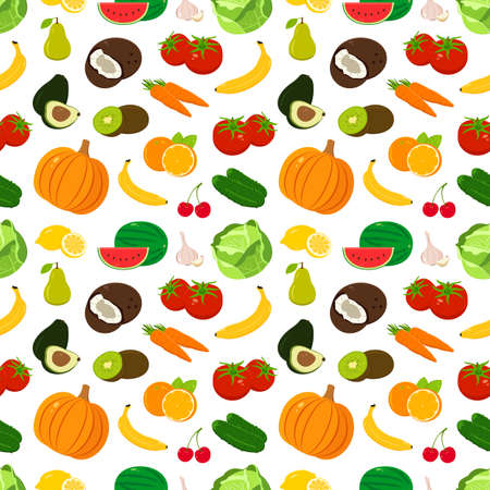 Organic food seamless pattern. Fruits and Vegetables background.