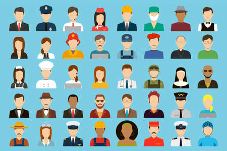 occupation icons set. job and employments concept. vector