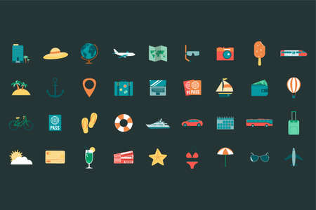 summer holiday icons collection. travel and tourism concept. vector