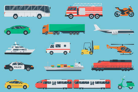 Transportation icons set. City cars and vehicles transport. Car, ship, airplane, train, motorcycle, helicopter. Flat design. Vector