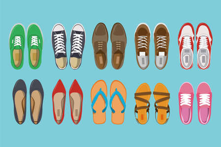 Men and Women shoes top view. Shoes icons. Sneakers and Slippers collection. Vector