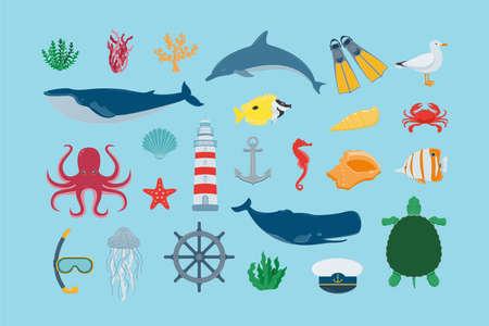 Sea icons and symbols set. Sea animals. Nautical design elements. Vector 스톡 콘텐츠 - 158388238