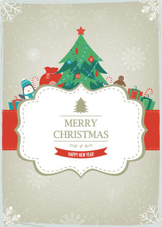 Christmas greeting card with cute characters. Vector