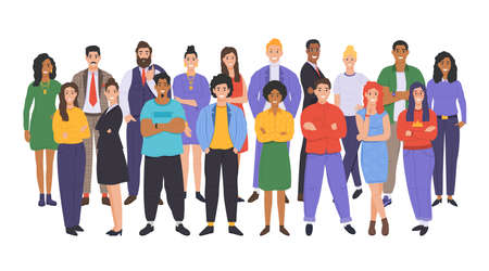 Multicultural group of people. People of different races and cultures. Cartoon characters set in flat design style. Vector 스톡 콘텐츠 - 163016411