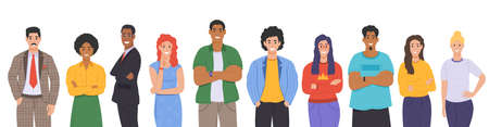 Multicultural group of people. People of different races and cultures. Cartoon characters set in flat design style. Vector
