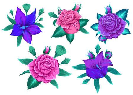 Modern flower design for print. Floral design concept. Vector illustration 스톡 콘텐츠 - 163531248