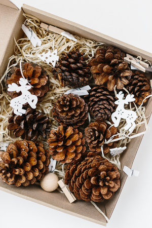 Set of pinecones in craft box on wood shavings and white wooden decor. Holiday natural decoration or gift idea for Christmas Stockfoto