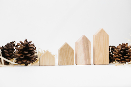 Lined up set of pinecones on wood shavings and wooden blocks house shape. Real estate sale and price increase concept, copy space. Holiday time 版權商用圖片