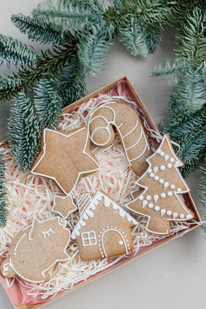Christmas homemade gingerbread cookies in gift box. Idea for christmas gift