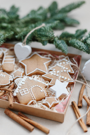 Christmas homemade gingerbread cookies in gift box. Christmas tree decoration