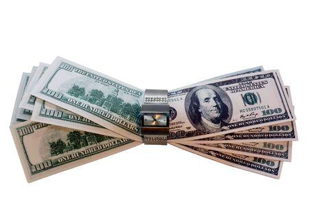 inwardly: hundreds of dollars into wrist watches isolated
