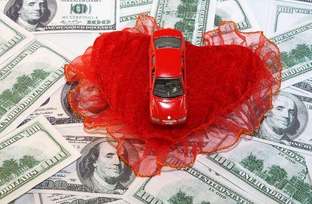 hundreds: red car,red heart on hundreds of dollars