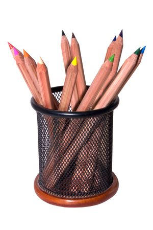 support with coloured wooden pencils photo