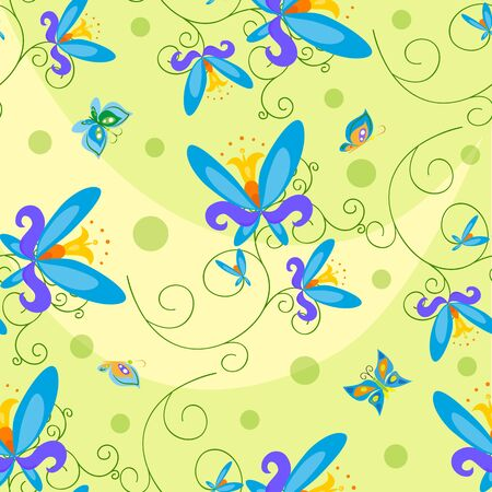 buzzer: Butterfly and Flowers Seamless.