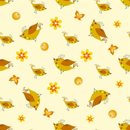 Colorful seamless pattern - birds in flowers.