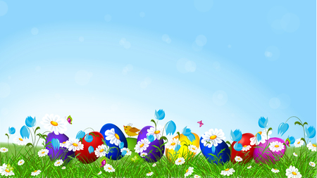 marguerite: Flying butterflies and colorful flowers field.Colorful Easter eggs and spring flowers l.